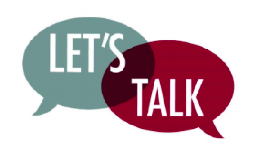 "graphic of the words ""let's talk"""