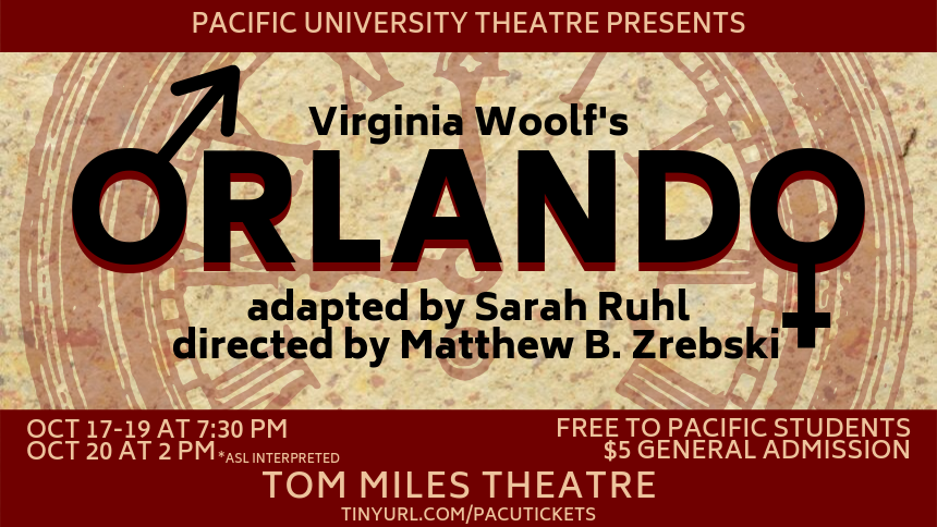 The poster for Pacific University's production of Orlando. The two letter O's are the symbols for male and female.
