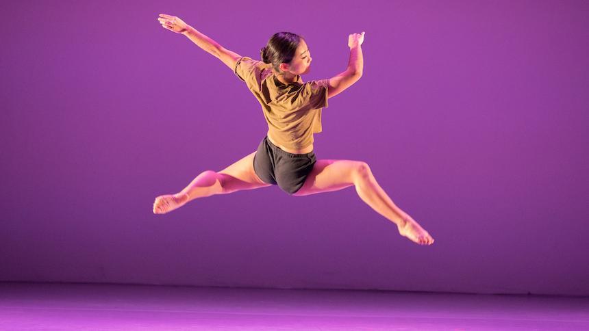 Female dancer jumping in air