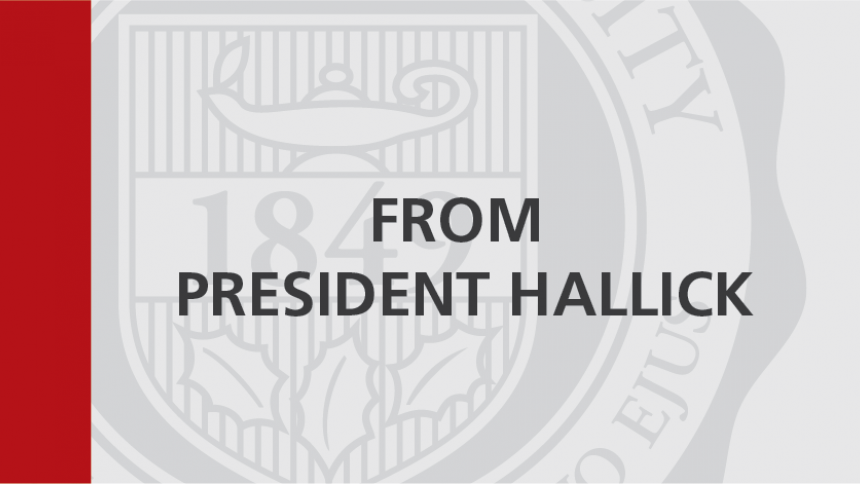 From President Hallick