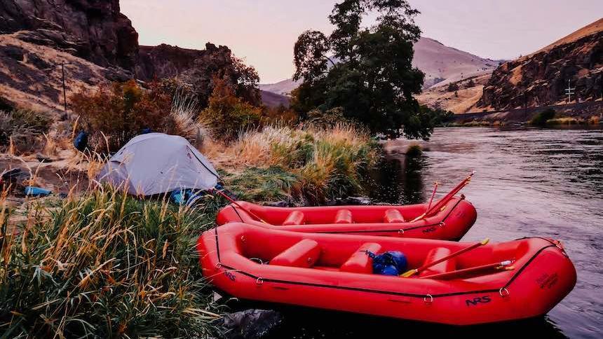 Raft in river