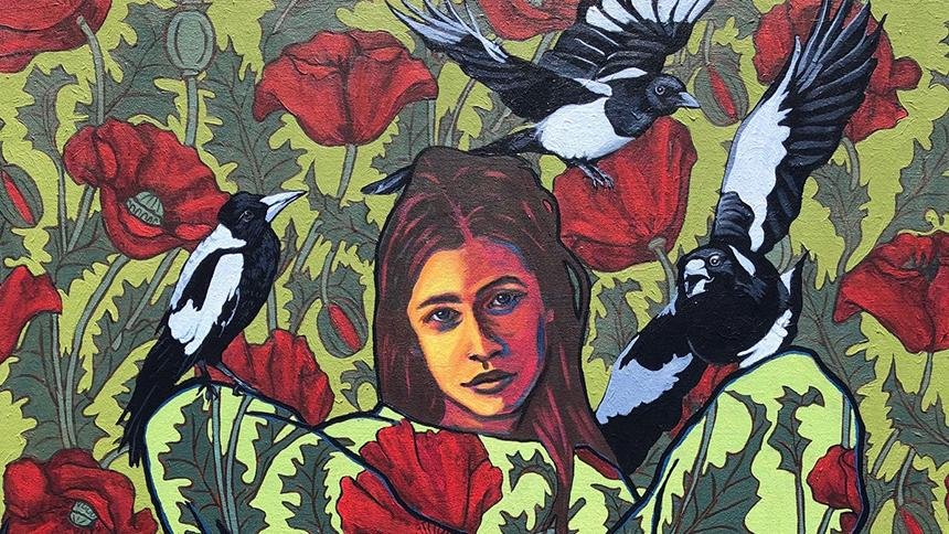 Painting of woman and birds