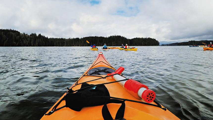 Sea kayakers on the water