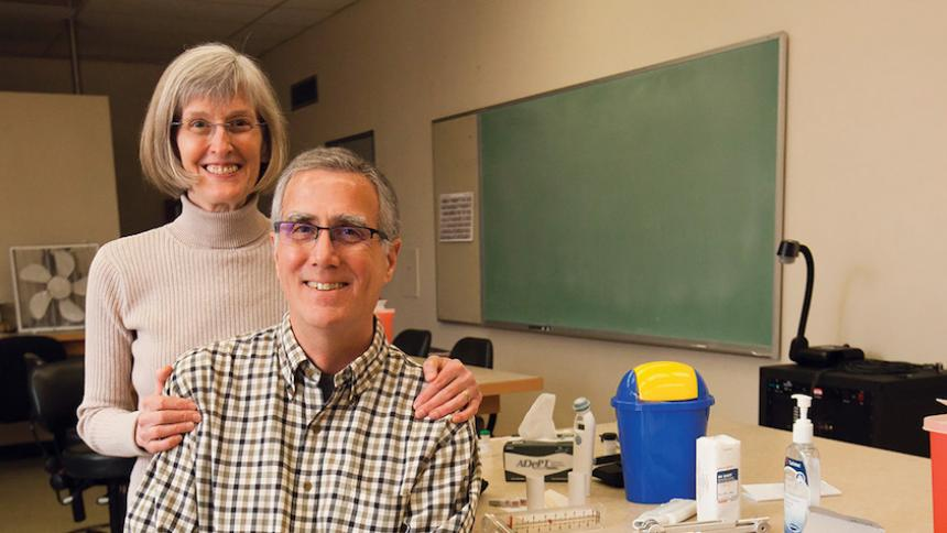 Dennis Smith and Nada Lingel pictured together in the lab.