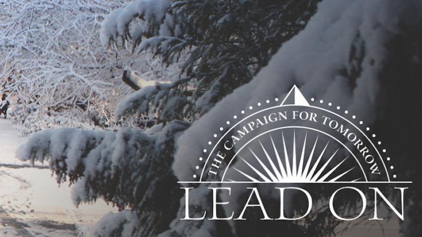 Lead On logo against snow backdrop