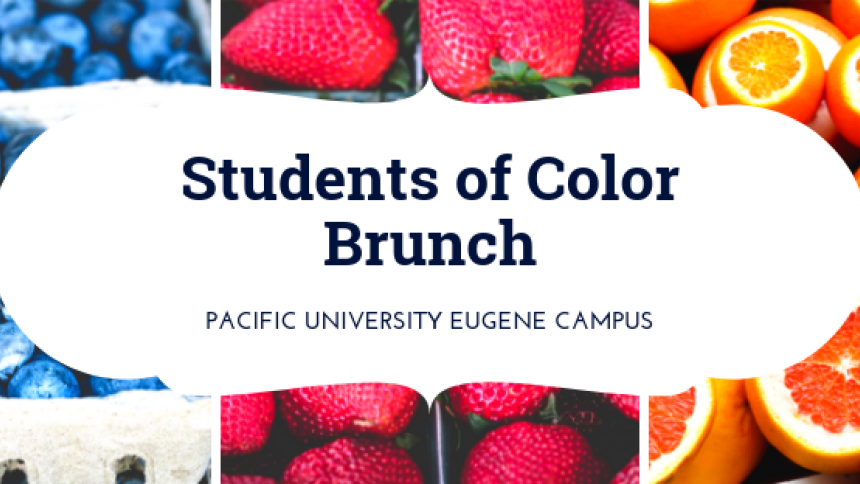 students of color brunch on a background of colorful fruit