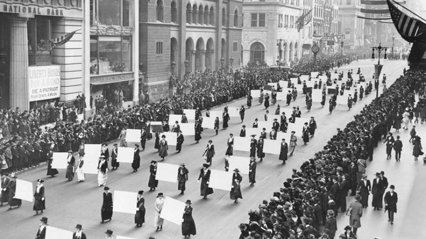 Suffragists parade down Fifth Ave.