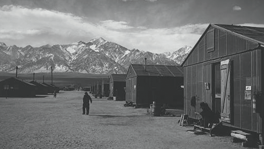 scenes from the lives of interned Japanese-Americans, taken by Ansel Adams