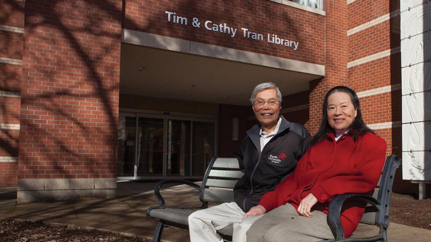 Tim & Cathy Tran on Campus, Tran Library Dedication
