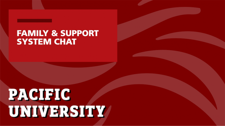 Red background with text that reads 'Family & Support System Chat'
