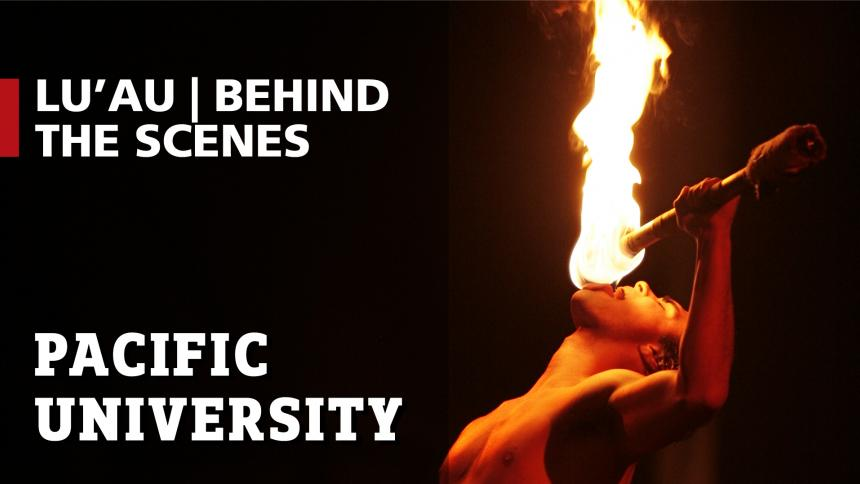 Student fire breathing at Lu'Au
