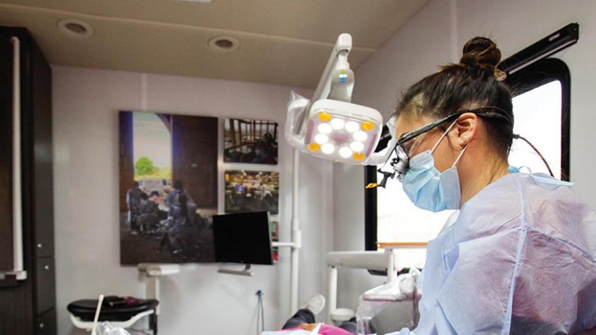 Student working in the Dental Hygiene Van
