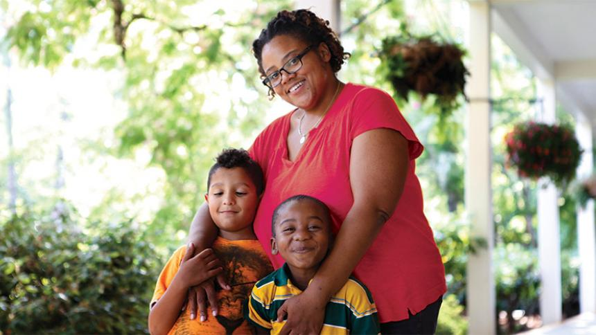 Eva Forrester with her 2 sons.