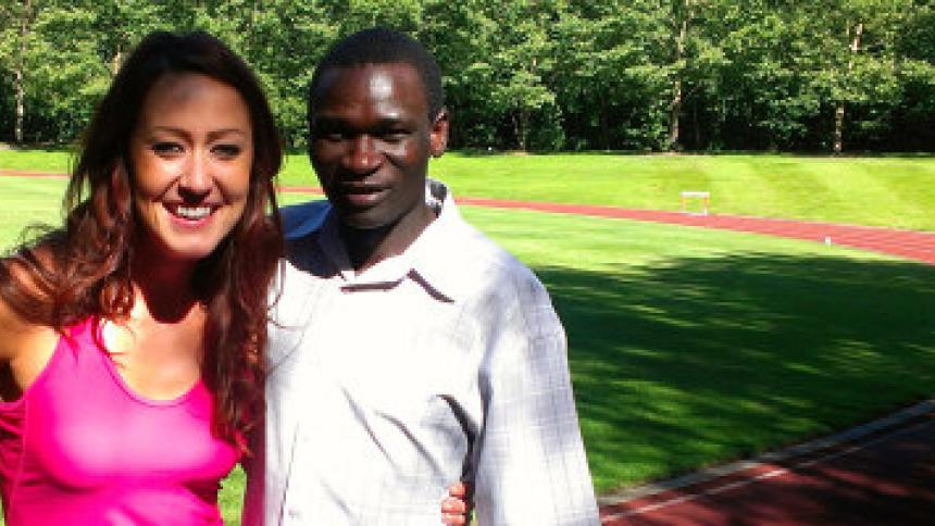 Kelsey Owens '09 and Olympian Julius Achon