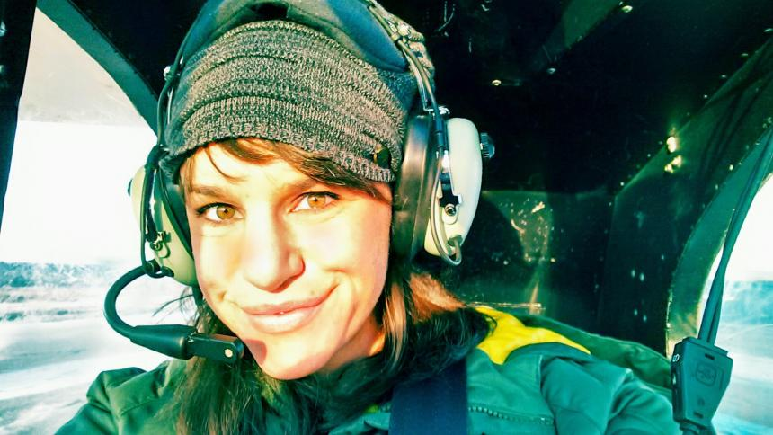 Ellie Servia AuD '15 sightseeing in a plane near Anchorage