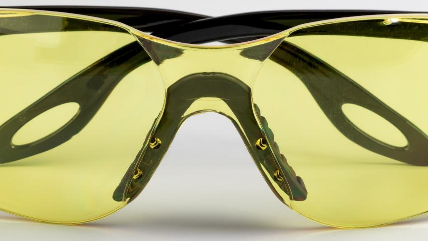 Yellow polycarbonate protective eyewear