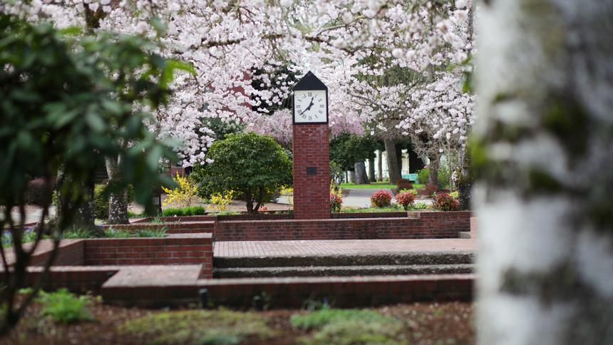 Trombley Square clocktower during a beautiful spring day