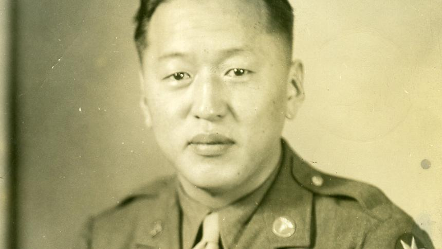 Private First Class Shin Sato pictured in his uniform