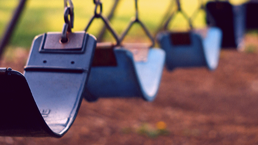 Empty swings in a park