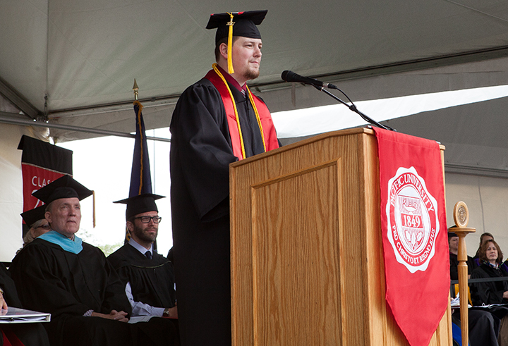 Evan Carlson delivers a commencement address