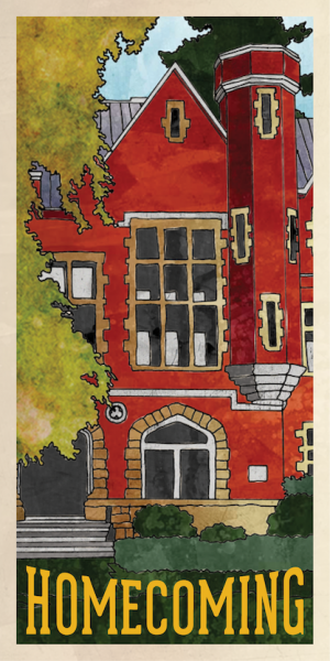Homecoming brochure featuring handdrawn Marsh Hall