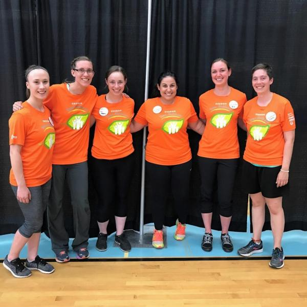 Six physical therapy students pose at Special Olympics Summer State Games